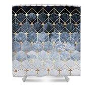 Blue Hexagons And Diamonds Shower Curtain