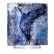 Blue Hummingbird Shower Curtain