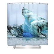 Blue Ice, Mendenhall Glacier Shower Curtain by Dawn Richards