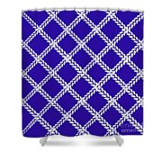 Blue Knit Shower Curtain