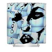 Blue Pop Art Woman's Face 1960's Retro Shower Curtain