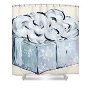 Blue Present Shower Curtain