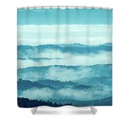 Blue Ridge Mountains Layers Upon Layers In Fog Shower Curtain