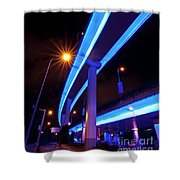 Blue Road At Night Shower Curtain