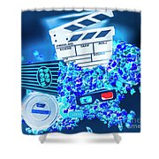 Blue Screen Entertainment Shower Curtain