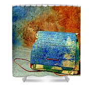 Blue Signature Altered Book Shower Curtain