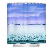 Blue Sky, White Field Shower Curtain