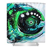 Blue Spewed Turtle Fish Shower Curtain