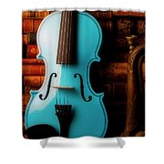 Blue Violin And Old Books Shower Curtain