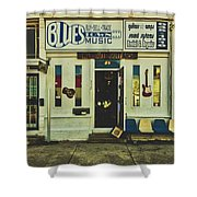 Blues Town Music Store Shower Curtain