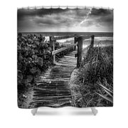 Boardwalk To The Sea In Radiant Black And White Shower Curtain