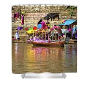 Boat And Bank Of The Narmada River, India Shower Curtain