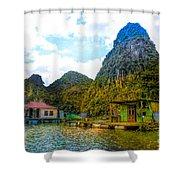 Boat People Homes On Gulf Of Tonkin Ha Long Bay Vietnam Shower Curtain
