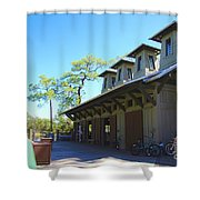 Boathouse In Watercolor Shower Curtain