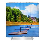 Boats At The Ferry Crossing Painting Shower Curtain