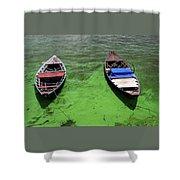 Boats On Algae, In Santarem, Brazil. Shower Curtain