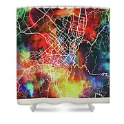 Bogota Colombia Watercolor City Street Map Shower Curtain