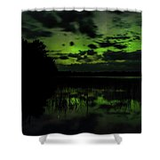 Boot Lake Green And Purple Northern Lights  Shower Curtain