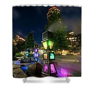 Boston Colored Steam Lights Boston Ma Rose Kennedy Greenway Steamy Shower Curtain