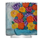 Bouquet In Blue Shower Curtain