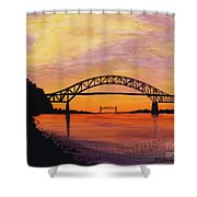 Bourne Bridge Sunset Shower Curtain