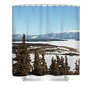 Bove Island On Windy Arm In Tagish Lake Yukon Shower Curtain