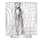Boy On The Street Pencil Drawing Shower Curtain