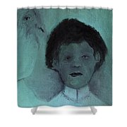 Boy With A Bird Shower Curtain