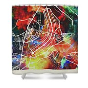 Brasilia Brazil Watercolor City Street Map Shower Curtain