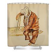 Brazil Watercolor Man On Bench Shower Curtain