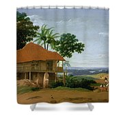 Brazilian Landscape With A Worker   S House  Shower Curtain