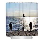 Breakwater East End Beach Scene Shower Curtain