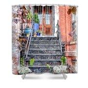 Brick Townhouse Walkup Watercolor Shower Curtain