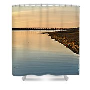 Bridge And Ria At Sunset In Quinta Do Lago Shower Curtain