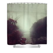 Bridge And River In Fog Shower Curtain