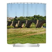 bridge over river Tyne at Corbridge in summer Shower Curtain