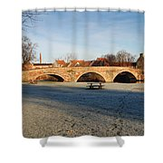 bridge over river Tyne in Haddington in winter Shower Curtain