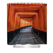 Bright Orange Torii Gates In Kyoto, Japan Shower Curtain