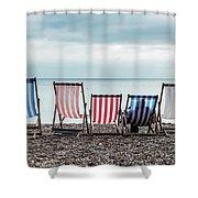 Brighton Beach Chairs Shower Curtain