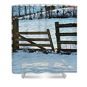 Broken Fence In The Snow At Sunset Shower Curtain