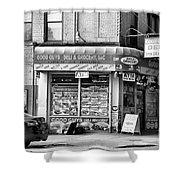 Brooklyn Deli Black White  Shower Curtain