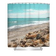 Bruce Bay New Zealand Painterly Shower Curtain