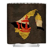 Brunei Country Flag Map Shower Curtain
