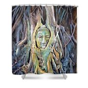 Buddha Head In Tree Roots Shower Curtain