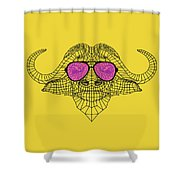 Buffalo In Pink Glasses Shower Curtain