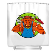 Bull Holding Barbecue Sausage Drawing Color Shower Curtain