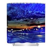 Bus Stop Sunrise Shower Curtain