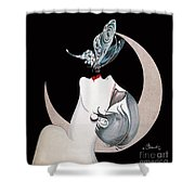 Butterfly Kiss French Art Deco Flapper Woman Shower Curtain