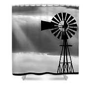 Bw Windmill And Crepuscular Rays -01 Shower Curtain by Rob Graham