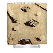 Bygone Baseball Shower Curtain